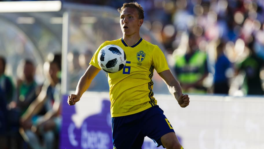 GOTHENBURG, SWEDEN - JUNE 09: Ludwig Augustinsson #6 of Sweden focused on the ball, during the international friendly match between Sweden v Peru at the Ullevi Stadium on June 9, 2018 in Gothenburg, Sweden. (Photo by Daniel Malmberg/Getty Images)