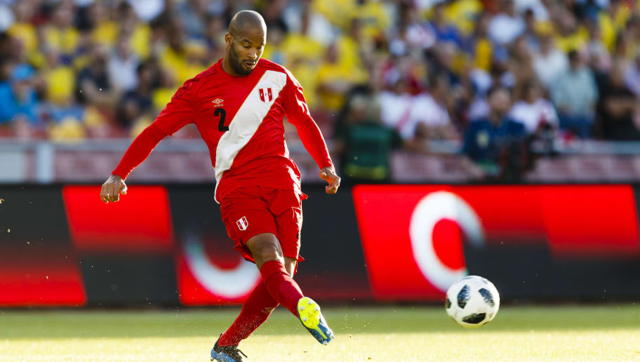 GOTHENBURG, SWEDEN - JUNE 09: Alberto Rodriguez #2 of Peru focused on the ball during the international friendly match between Sweden v Peru at the Ullevi Stadium on June 9, 2018 in Gothenburg, Sweden. (Photo by Daniel Malmberg/Getty Images)
