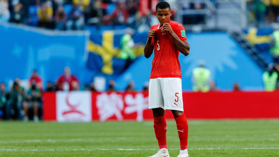 SAINT PETERSBURG, RUSSIA - JULY 03: Manuel Akanji of Switzerland looks on during the 2018 FIFA World Cup Russia Round of 16 match between Sweden and Switzerland at Saint Petersburg Stadium on July 3, 2018 in Saint Petersburg, Russia. (Photo by TF-Images/Getty Images)