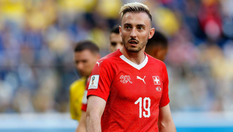 SAINT PETERSBURG, RUSSIA - JULY 03: Josip Drmic of Switzerland looks on during the 2018 FIFA World Cup Russia Round of 16 match between Sweden and Switzerland at Saint Petersburg Stadium on July 3, 2018 in Saint Petersburg, Russia. (Photo by TF-Images/Getty Images)