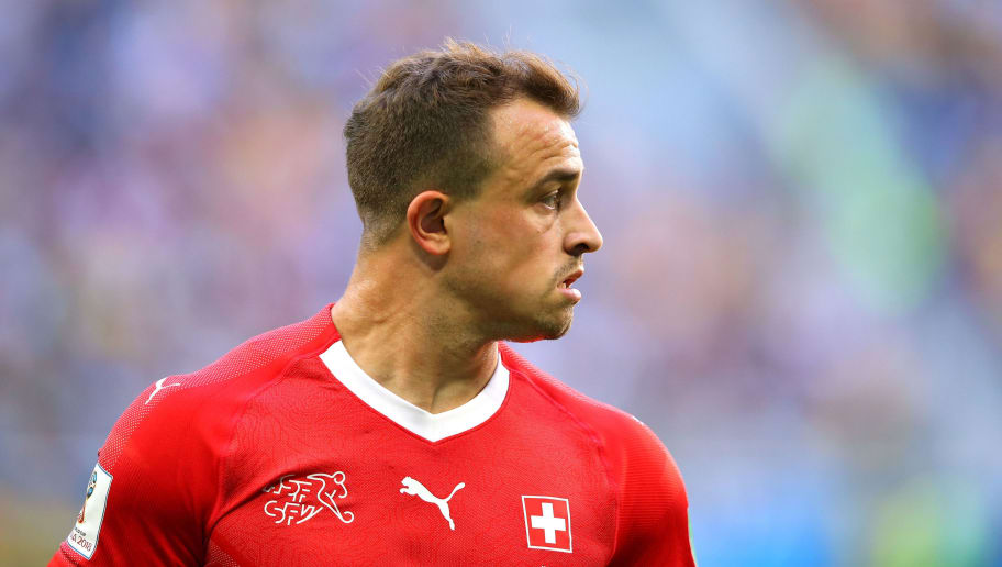 SAINT PETERSBURG, RUSSIA - JULY 03:  Xherdan Shaqiri of Switzerland looks on during the 2018 FIFA World Cup Russia Round of 16 match between Sweden and Switzerland at Saint Petersburg Stadium on July 3, 2018 in Saint Petersburg, Russia.  (Photo by Alex Livesey/Getty Images)