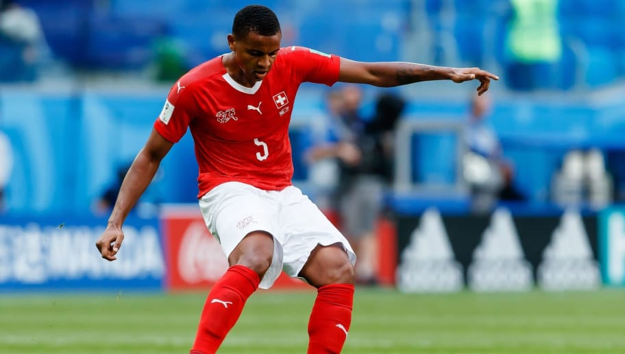 SAINT PETERSBURG, RUSSIA - JULY 03: Manuel Akanji of Switzerland controls the ball during the 2018 FIFA World Cup Russia Round of 16 match between Sweden and Switzerland at Saint Petersburg Stadium on July 3, 2018 in Saint Petersburg, Russia. (Photo by TF-Images/Getty Images)