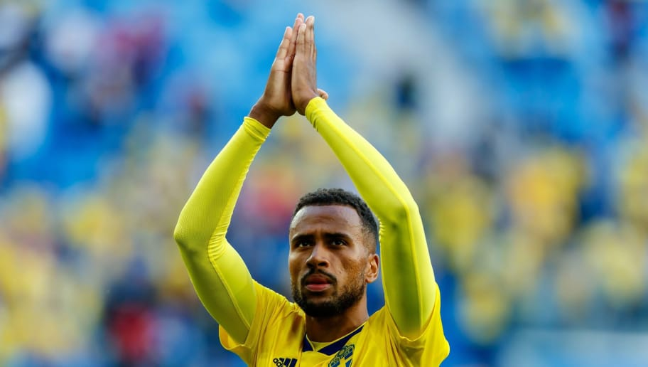 SAINT PETERSBURG, RUSSIA - JULY 03: Isaac Kiese Thelin of Sweden celebrates after winning the 2018 FIFA World Cup Russia Round of 16 match between Sweden and Switzerland at Saint Petersburg Stadium on July 3, 2018 in Saint Petersburg, Russia. (Photo by TF-Images/Getty Images)