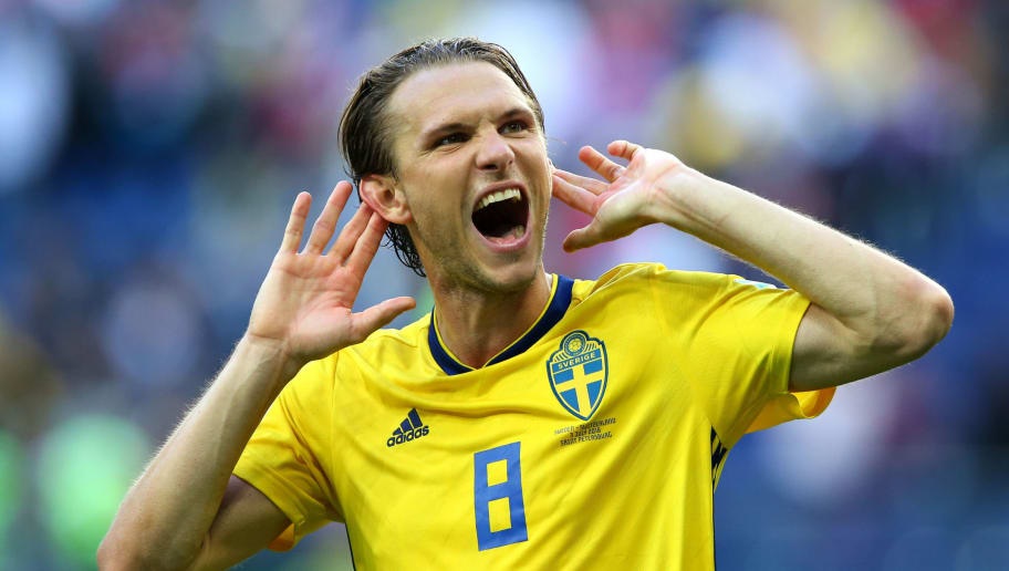 SAINT PETERSBURG, RUSSIA - JULY 03:  Albin Ekdal of Sweden celebrates victory following the 2018 FIFA World Cup Russia Round of 16 match between Sweden and Switzerland at Saint Petersburg Stadium on July 3, 2018 in Saint Petersburg, Russia.  (Photo by Alex Livesey/Getty Images)