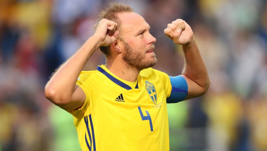 SAINT PETERSBURG, RUSSIA - JULY 03:    Andreas Granqvist of Sweden celebrates at the end of the 2018 FIFA World Cup Russia Round of 16 match between Sweden and Switzerland at Saint Petersburg Stadium on July 3, 2018 in Saint Petersburg, Russia. (Photo by Matthew Ashton - AMA/Getty Images)