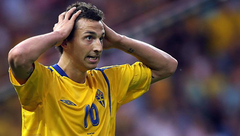 Swedish forward Zlatan Ibrahimovic react