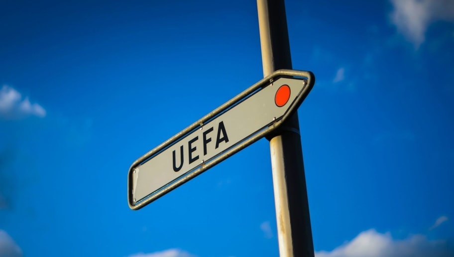A sign indicating the UEFA building is seen next to the European football governing body headquarters on April 6, 2016 in Nyon. Swiss police on April 6, 2016 searched UEFA headquarters as part of a 'criminal mismanagement' probe into a Champions League television rights deal signed by FIFA's new president Gianni Infantino. The existence of the deal, signed when Infantino was UEFA's legal chief, was revealed this week in the Panama Papers leaks. But the Swiss Office of the Attorney General (OAG) implied that it had suspicions before the leaks came out. / AFP / FABRICE COFFRINI        (Photo credit should read FABRICE COFFRINI/AFP/Getty Images)