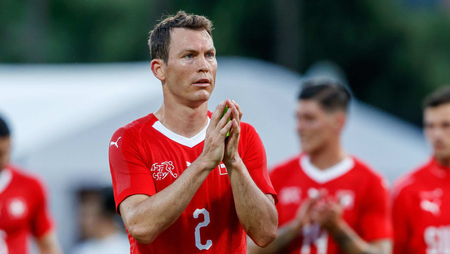 LUGANO, SWITZERLAND - JUNE 08: Stephan Lichtsteiner of Switzerland gestures during the international friendly match between Switzerland and Japan at the Stadium Cornaredo on June 8, 2018 in Lugano, Switzerland. (Photo by TF-Images/Getty Images)