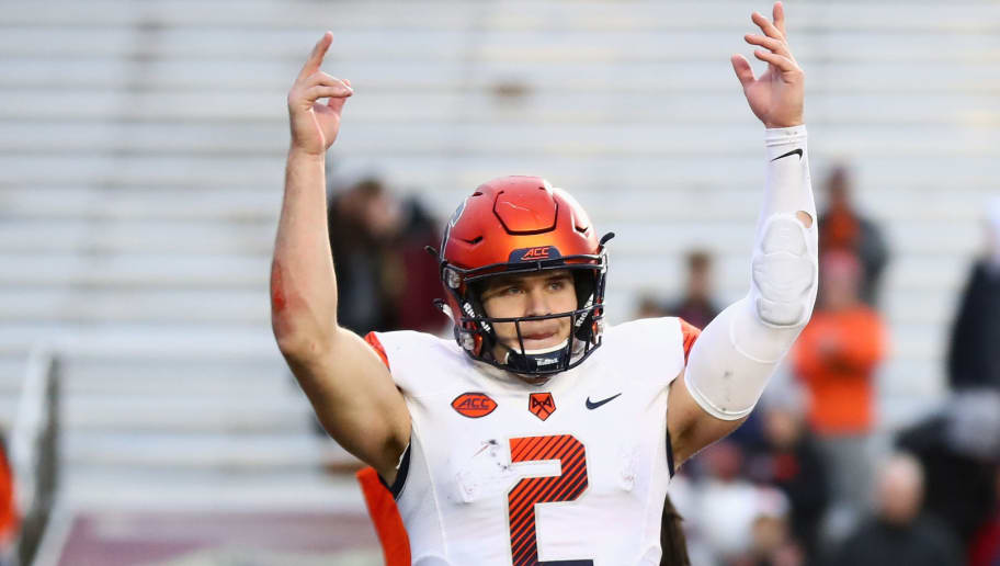 CHESTNUT HILL, MA - NOVEMBER 24:  Quarterback Eric Dungey #2 of the Syracuse Orange pumps up the fans in the bottom of the fourth quarter of the game against the Boston College Eagles at Alumni Stadium on November 24, 2018 in Chestnut Hill, Massachusetts.  (Photo by Omar Rawlings/Getty Images)