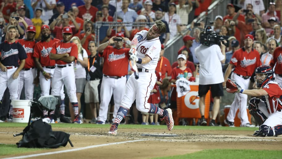 WASHINGTON, DC - JULY 16: Bryce Harper #34 during the T-Mobile Home Run Derby at Nationals Park on July 16, 2018 in Washington, DC. (Photo by Rob Carr/Getty Images)