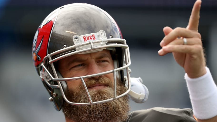 CHARLOTTE, NC - NOVEMBER 04:  Ryan Fitzpatrick #14 of the Tampa Bay Buccaneers warms up before their game against the Carolina Panthers at Bank of America Stadium on November 4, 2018 in Charlotte, North Carolina.  (Photo by Streeter Lecka/Getty Images)