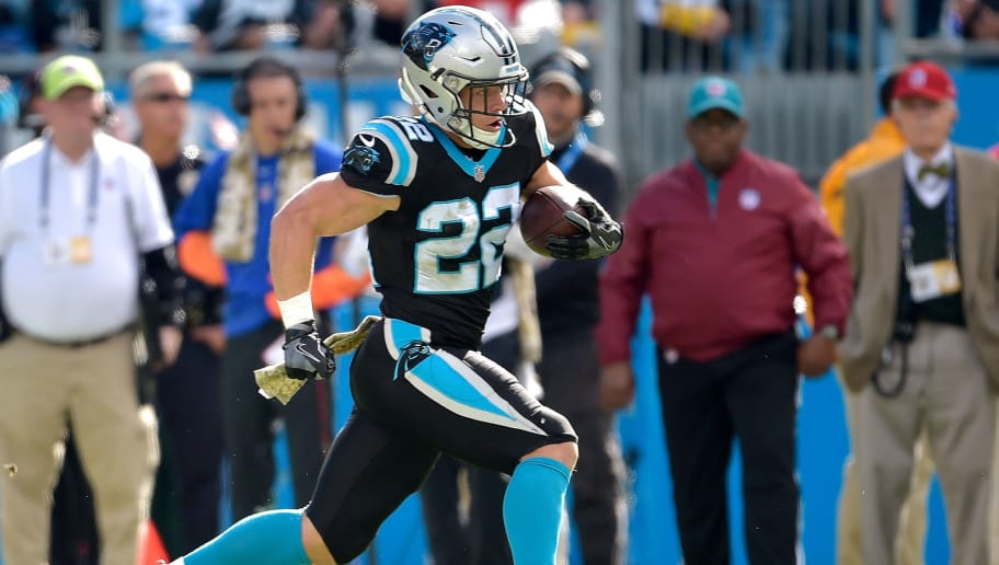 CHARLOTTE, NC - NOVEMBER 04:  Christian McCaffrey #22 of the Carolina Panthers runs against the Tampa Bay Buccaneers during their game at Bank of America Stadium on November 4, 2018 in Charlotte, North Carolina.  (Photo by Grant Halverson/Getty Images)