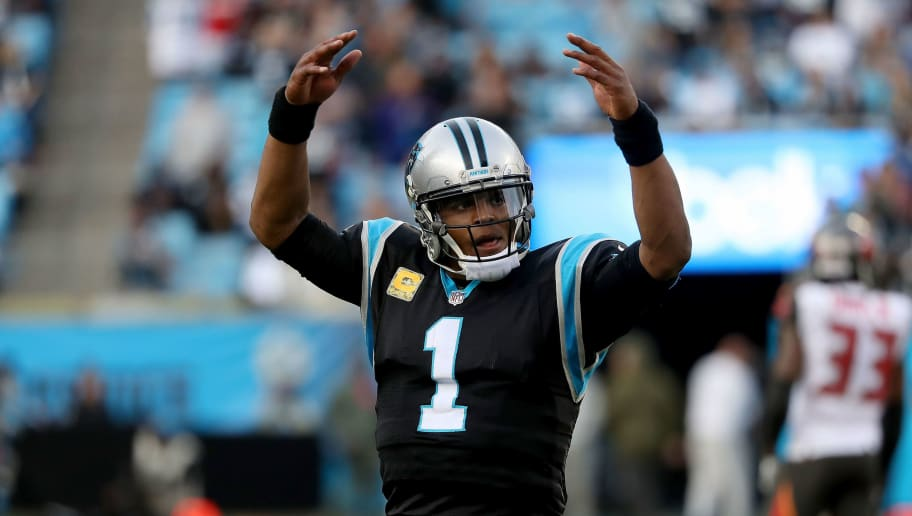 CHARLOTTE, NC - NOVEMBER 04:  Cam Newton #1 of the Carolina Panthers reacts to their 42-28 victory over the Tampa Bay Buccaneers at Bank of America Stadium on November 4, 2018 in Charlotte, North Carolina.  (Photo by Streeter Lecka/Getty Images)