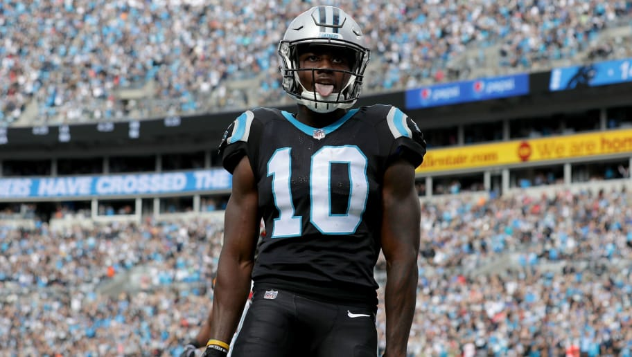CHARLOTTE, NC - NOVEMBER 04:  Curtis Samuel #10 of the Carolina Panthers celebrates a touchdown against the Tampa Bay Buccaneers in the second quarter during their game at Bank of America Stadium on November 4, 2018 in Charlotte, North Carolina.  (Photo by Streeter Lecka/Getty Images)