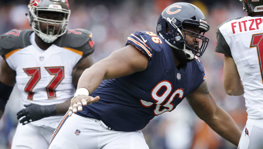 CHICAGO, IL - SEPTEMBER 30: Akiem Hicks #96 of the Chicago Bears in action during the game against the Tampa Bay Buccaneers at Soldier Field on September 30, 2018 in Chicago, Illinois. The Bears won 48-10. (Photo by Joe Robbins/Getty Images)