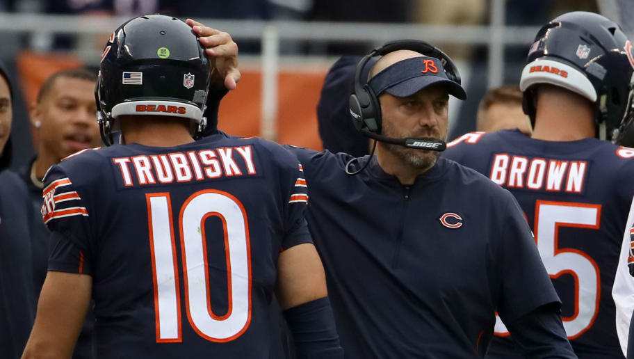 CHICAGO, IL - SEPTEMBER 30:  Quarterback Mitchell Trubisky #10 of the Chicago Bears celebrates with head coach Matt Nagy in the first quarter against the Tampa Bay Buccaneers at Soldier Field on September 30, 2018 in Chicago, Illinois.  (Photo by Jonathan Daniel/Getty Images)