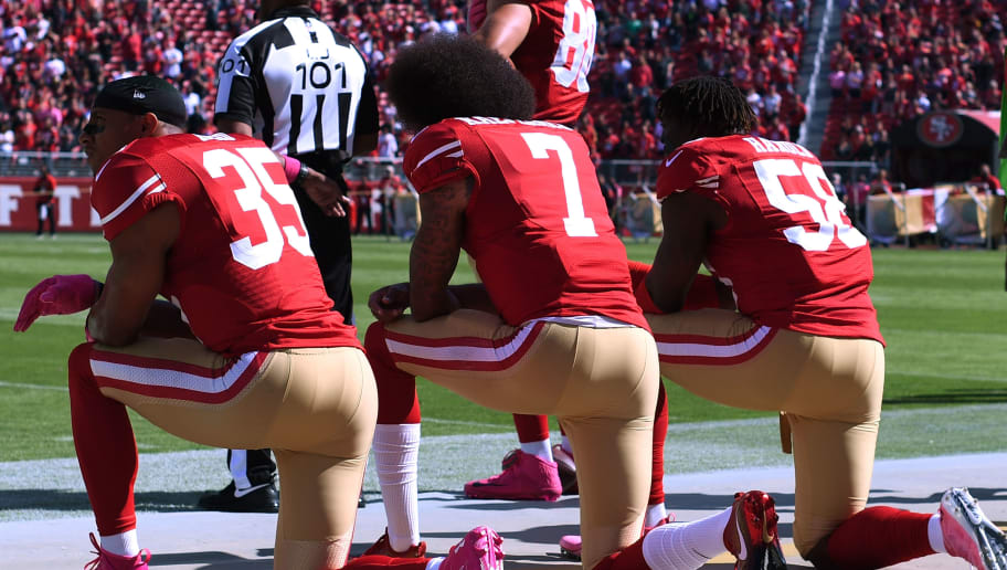 SANTA CLARA, CA - OCTOBER 23:  Eric Reid #35, Colin Kaepernick #7 and Eli Harold #58 of the San Francisco 49ers kneel in protest during the national anthem prior to their NFL game against the Tampa Bay Buccaneers at Levi's Stadium on October 23, 2016 in Santa Clara, California.  (Photo by Thearon W. Henderson/Getty Images)