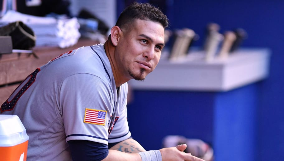 MIAMI, FL - JULY 03: Wilson Ramos #40 of the Tampa Bay Rays looks on in the dugout during the game against the Miami Marlins at Marlins Park on July 3, 2018 in Miami, Florida. (Photo by Mark Brown/Getty Images)