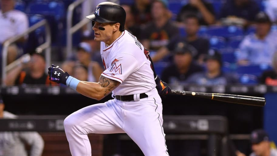 MIAMI, FL - JULY 02: Derek Dietrich #32 of the Miami Marlins at bat against the Tampa Bay Rays at Marlins Park on July 2, 2018 in Miami, Florida. (Photo by Mark Brown/Getty Images)
