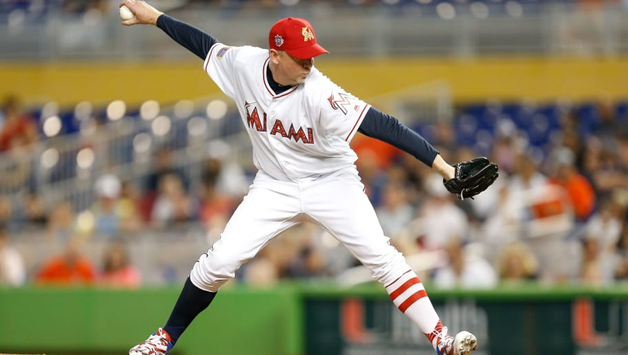 MIAMI, FL - JULY 04:  Brad Ziegler #29 of the Miami Marlins delivers a pitch in the ninth inning against the Tampa Bay Rays at Marlins Park on July 4, 2018 in Miami, Florida.  (Photo by Michael Reaves/Getty Images)