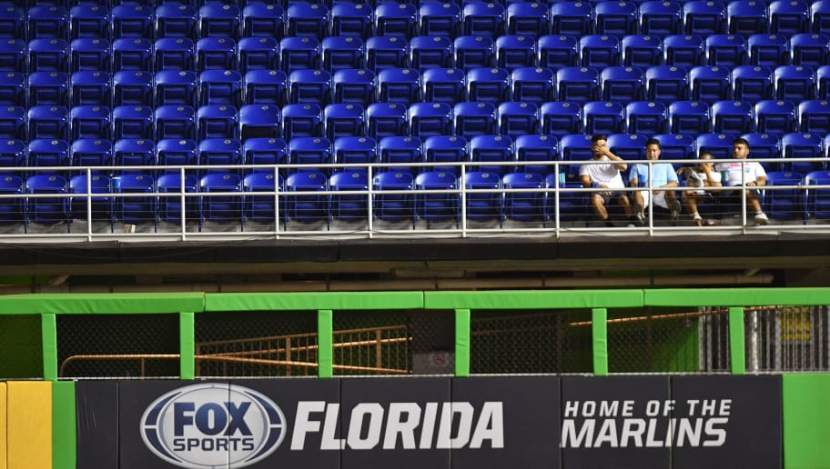 MIAMI, FL - JULY 03: Fans watch the game between the Miami Marlins and the Tampa Bay Rays in the sixteenth inning  Marlins Park on July 3, 2018 in Miami, Florida. (Photo by Mark Brown/Getty Images)