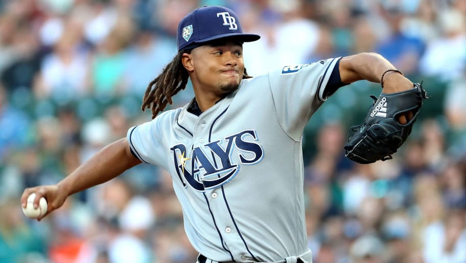 SEATTLE, WA - JUNE 02:  Chris Archer #22 of the Tampa Bay Rays pitches against the Seattle Mariners in the first innng during their game at Safeco Field on June 2, 2018 in Seattle, Washington.  (Photo by Abbie Parr/Getty Images)