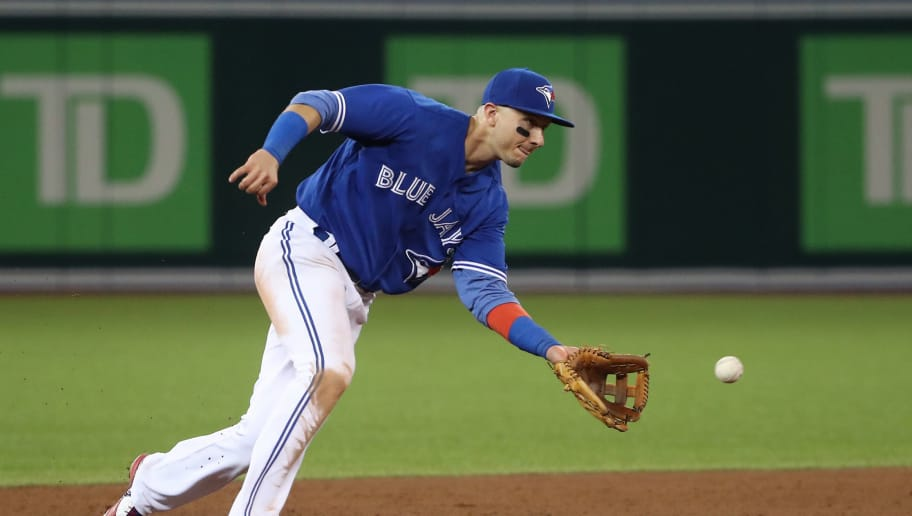 TORONTO, ON - JUNE 13: Troy Tulowitzki #2 of the Toronto Blue Jays makes the play and throws out the baserunner in the ninth inning during MLB game action against the Tampa Bay Rays at Rogers Centre on June 13, 2017 in Toronto, Canada. (Photo by Tom Szczerbowski/Getty Images)