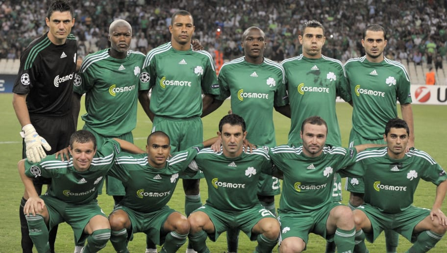Team members of Panathinaikos pose for a