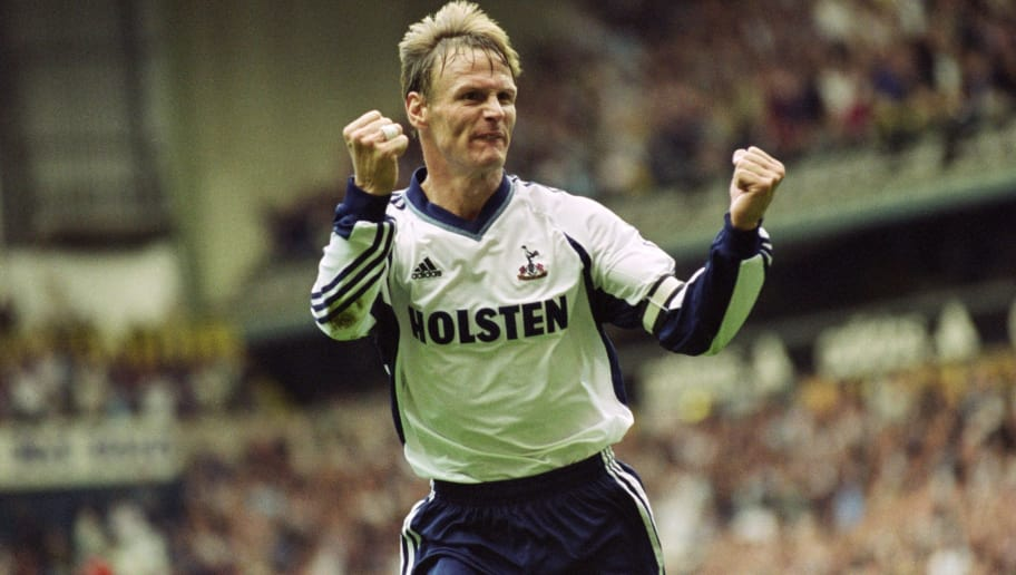 16 Sep 2001:  Teddy Sheringham celebrates scoring a goal during the FA Barclaycard Premiership match against Chelsea played at White Hart Lane in London.  Chelsea won the match 3 - 2. \ Mandatory Credit: Clive Brunskill /Allsport