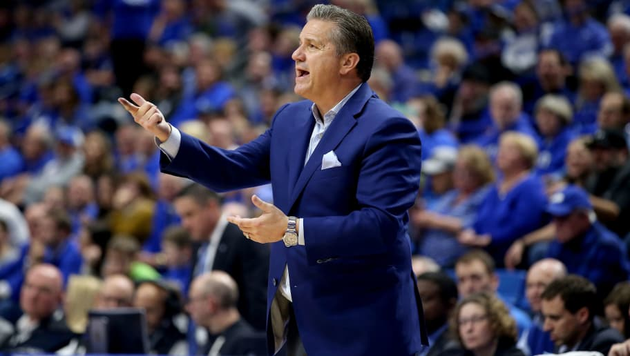 LEXINGTON, KY - NOVEMBER 23:  John Calipari the head coach of the Kentucky Wildcats gives instructions to his team against the Tennessee State Tigers at Rupp Arena on November 23, 2018 in Lexington, Kentucky.  (Photo by Andy Lyons/Getty Images)