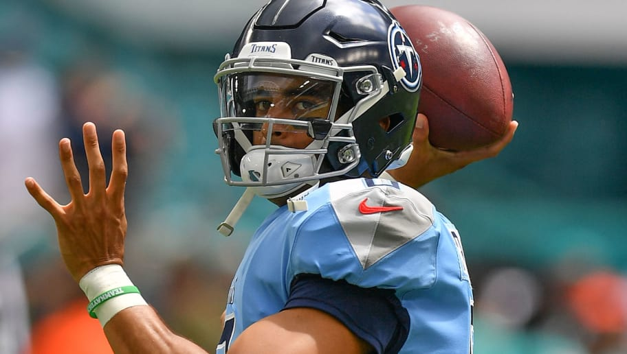 MIAMI, FL - SEPTEMBER 09: Marcus Mariota #8 of the Tennessee Titans warms up before the game against the Miami Dolphins at Hard Rock Stadium on September 9, 2018 in Miami, Florida. (Photo by Mark Brown/Getty Images)
