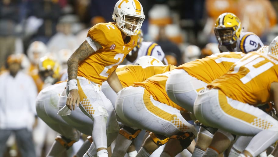 KNOXVILLE, TN - NOVEMBER 18:  Jarrett Guarantano #2 of the Tennessee Volunteers calls a play against the LSU Tigers at Neyland Stadium on November 18, 2017 in Knoxville, Tennessee.  (Photo by Michael Reaves/Getty Images)