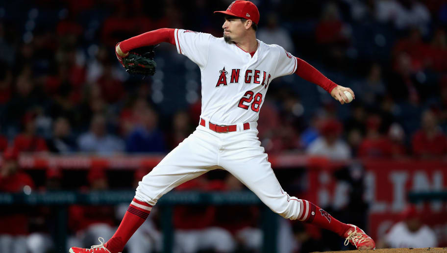 ANAHEIM, CA - SEPTEMBER 26:  Andrew Heaney #28 of the Los Angeles Angels of Anaheim pitches during the first inning of a game against the Texas Rangers  at Angel Stadium on September 26, 2018 in Anaheim, California.  (Photo by Sean M. Haffey/Getty Images)