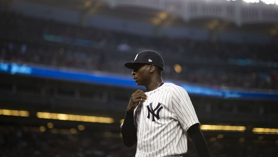 NEW YORK, NY - AUGUST 10: Didi Gregorius #18 of the New York Yankees walks to the dugout during their game against the Texas Rangers at Yankee Stadium on August 10, 2018 in New York City. (Photo by Michael Owens/Getty Images)