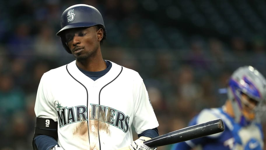 SEATTLE, WA - MAY 31: Dee Gordon #9 of the Seattle Mariners reacts after being unable to get on base in the fifth inning against the Texas Rangers during their game at Safeco Field on May 31, 2018 in Seattle, Washington.  (Photo by Abbie Parr/Getty Images)