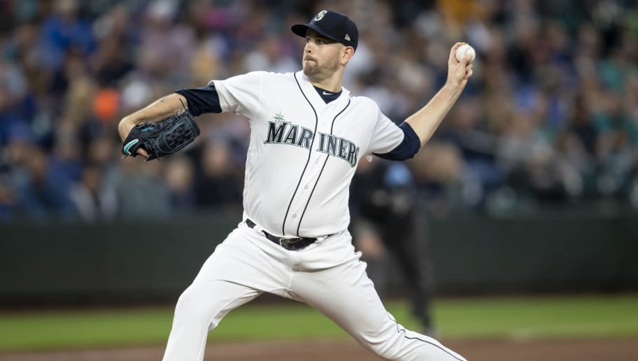 SEATTLE, WA - SEPTEMBER 29: Starter James Paxton #65 of the Seattle Mariners delivers a pitch during the first inning of a game against the Texas Rangers at Safeco Field on September 29, 2018 in Seattle, Washington. (Photo by Stephen Brashear/Getty Images)
