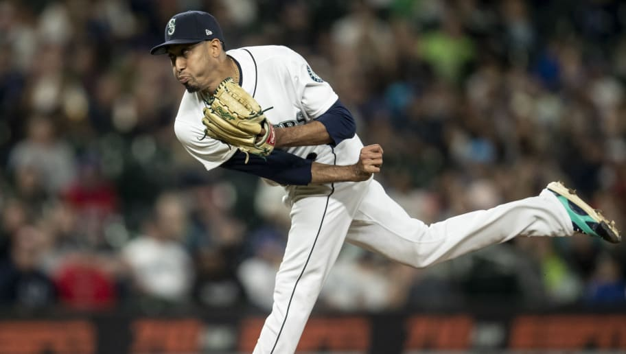 SEATTLE, WA - SEPTEMBER 29: Reliever Edwin Diaz #39 of the Seattle Mariners delivers a pitch during the ninth inning of a game against the Texas Rangers at Safeco Field on September 29, 2018 in Seattle, Washington. The Mariners won the game 4-1. (Photo by Stephen Brashear/Getty Images)