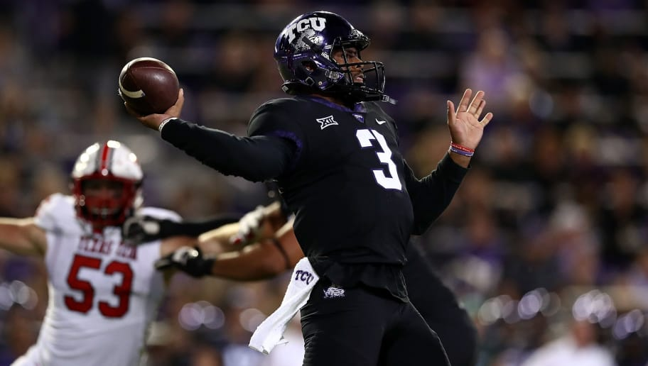 FORT WORTH, TX - OCTOBER 11:  Shawn Robinson #3 of the TCU Horned Frogs throws against the Texas Tech Red Raiders at Amon G. Carter Stadium on October 11, 2018 in Fort Worth, Texas.  (Photo by Ronald Martinez/Getty Images)