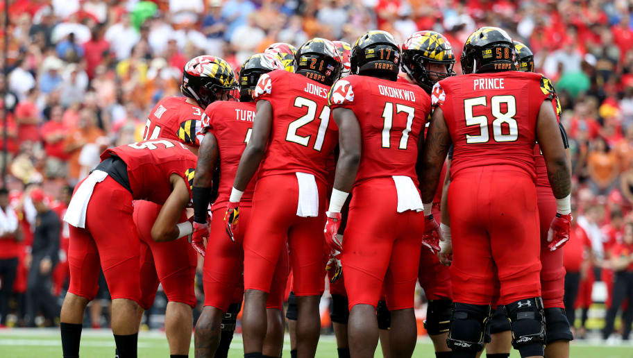LANDOVER, MD - SEPTEMBER 1: The Maryland Terrapins offense huddles against the Texas Longhorns defense at FedExField on September 1, 2018 in Landover, Maryland. (Photo by Rob Carr/Getty Images)