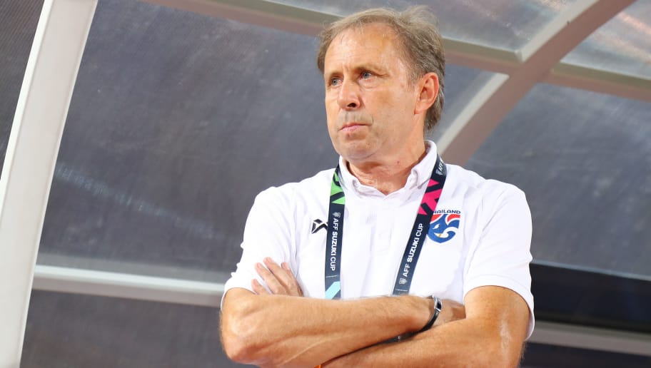 BANGKOK, THAILAND - DECEMBER 05: Milovan Rajevac, head coach of Thailand, in action prior to the AFF Suzuki Cup semi final second leg match between Thailand and Malaysia at Rajamangala Stadium on December 5, 2018 in Bangkok, Thailand. (Photo by Pakawich Damrongkiattisak/Getty Images)