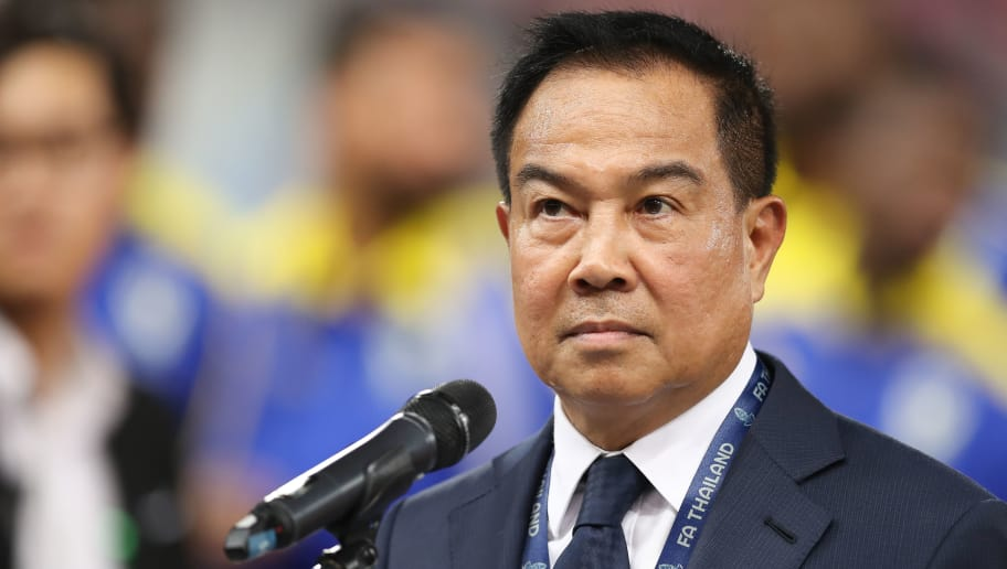 BANGKOK, THAILAND - MARCH 25: Somyos Pumpanmuang, president of the Football Association of Thailand, in action during the international friendly match between Thailand and Slovakia at Rajamangala National Stadium on March 25, 2018 in Bangkok, Thailand. (Photo by Pakawich Damrongkiattisak/Getty Images)