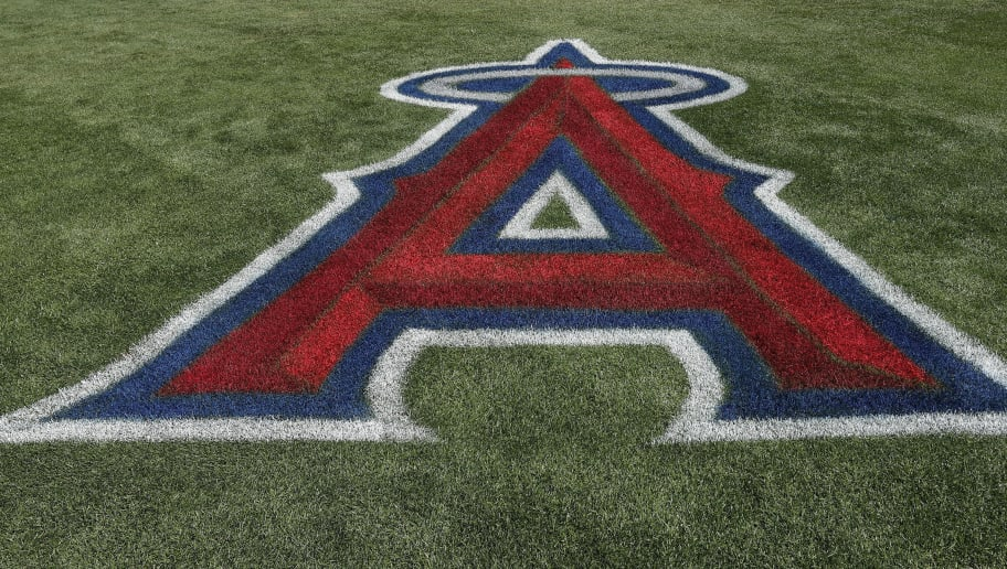 TEMPE, AZ - MARCH 06: The Los Angeles Angels of Anaheim logo on the turf during a spring training game at Tempe Diablo Stadium on March 06, 2017 in Tempe, Arizona. (Photo by Tim Warner/Getty Images)'n'n