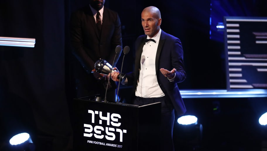 LONDON, ENGLAND - OCTOBER 23:  Zinedine Zidane of France and Real Madrid CF wins The best Fifa men's coach award during The Best FIFA Football Awards Show on October 23, 2017 in London, England.  (Photo by Bryn Lennon/Getty Images)