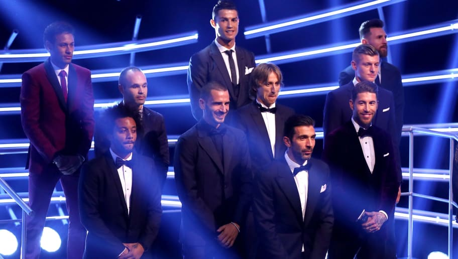 LONDON, ENGLAND - OCTOBER 23:  Gianluigi Buffon, Dani Alves,  Leonardo Bonucci, Sergio Ramos, Marcelo; Luka Modric, Toni Kroos, Andres Iniesta; Lionel Messi, Cristiano Ronaldo and Neymar are named The Fifa FifPro World XI during The Best FIFA Football Awards Show on October 23, 2017 in London, England.  (Photo by Michael Steele/Getty Images)
