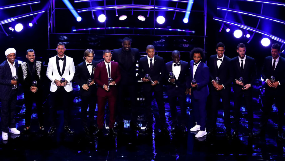 LONDON, ENGLAND - SEPTEMBER 24:  The FIFA FIFPro World 11 pose for a photo on stage during the The Best FIFA Football Awards Show at Royal Festival Hall on September 24, 2018 in London, England.  (Photo by Dan Istitene/Getty Images)