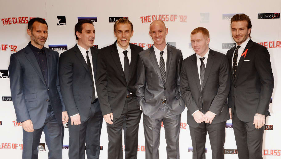 LONDON, ENGLAND - DECEMBER 01:  Ryan Giggs, Gary Neville, Phil Neville, Nicky Butt, Paul Scholes and David Beckham attend the World premiere of 'The Class of 92' at Odeon West End on December 1, 2013 in London, England.  (Photo by Dave J Hogan/Getty Images)
