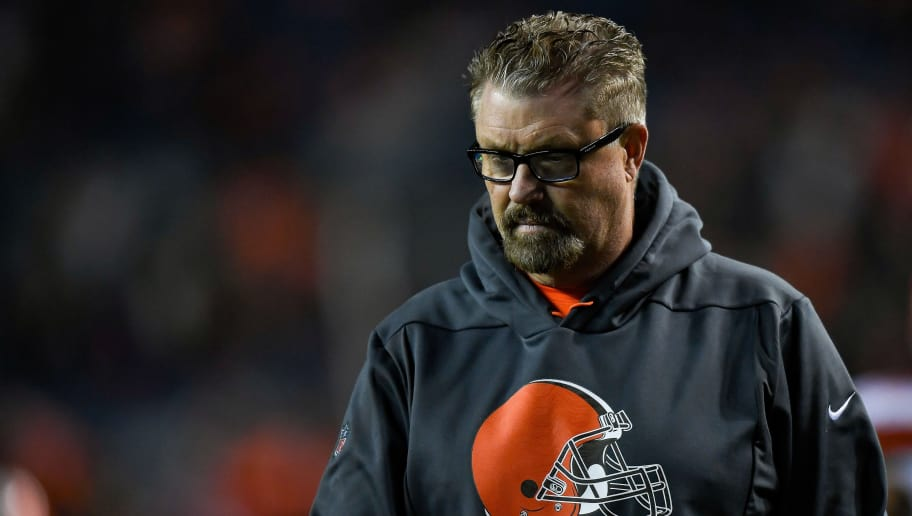 DENVER, CO - DECEMBER 15:  Head coach Gregg Williams of the Cleveland Browns stands on the field before a game against the Denver Broncos at Broncos Stadium at Mile High on December 15, 2018 in Denver, Colorado. (Photo by Dustin Bradford/Getty Images)