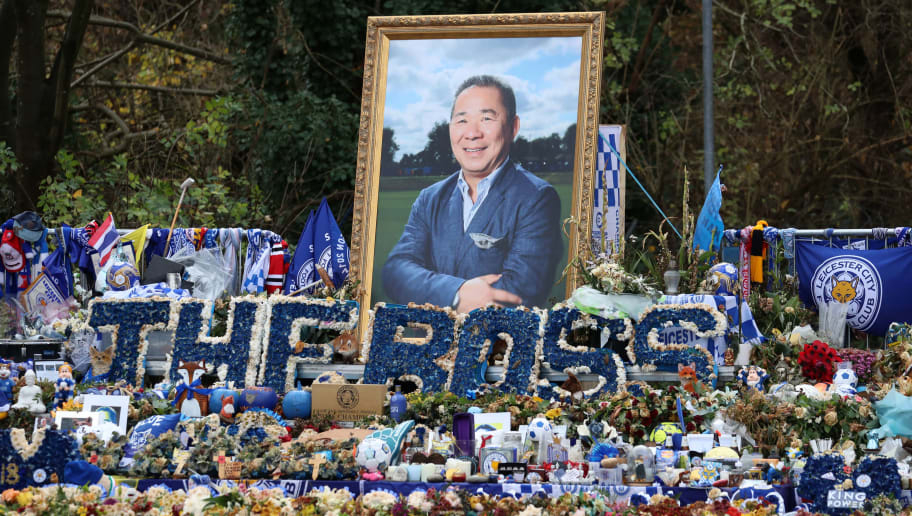 LEICESTER, ENGLAND - NOVEMBER 28:  Tributes for Leicestr City Owner  Vichai Srivaddhanaprabha who was tragically killed in the helicopter crash on Saturday 27th October at Leicester City Football Club's King Power Stadium on November 28, 2018 in Leicester, United Kingdom. (Photo by Neil P. Mockford/Getty Images)