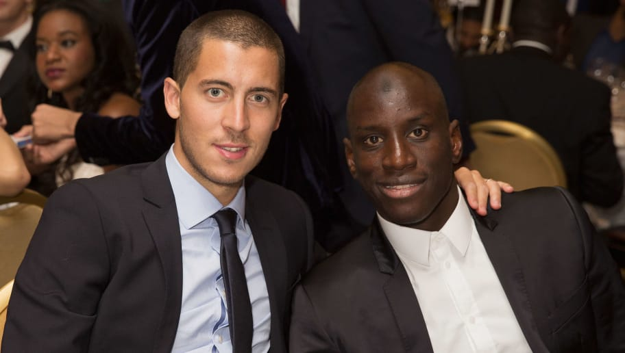 LONDON, ENGLAND - MAY 25:  Eden Hazard and Demba Ba at dinner at The Human Appeal Celebrity Football Gala DinnerLondon Marriott Hotel on May 25, 2015 in London, England.  (Photo by Dave J Hogan/Getty Images)