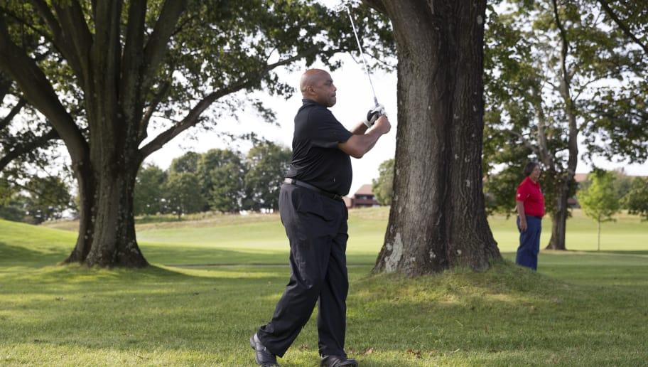 LAFAYETTE HILL, PA - SEPTEMBER 11: NBA Hall of Famer Charles Barkley attempts a shot during the Julius Erving Golf Classic at The ACE Club on September 11, 2017 in Lafayette Hill, Pennsylvania. (Photo by Mitchell Leff/Getty Images for PGD Global)